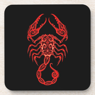 Intricate Red Scorpio Zodiac on Black Drink Coasters