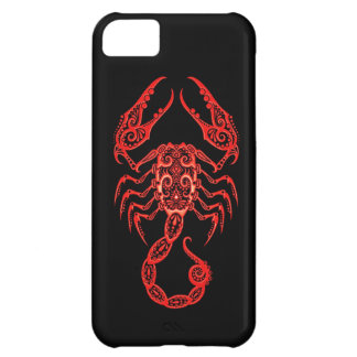 Intricate Red Scorpio Zodiac on Black iPhone 5C Case