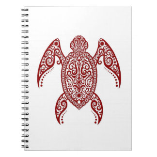 Intricate Red Sea Turtle on White Spiral Notebooks