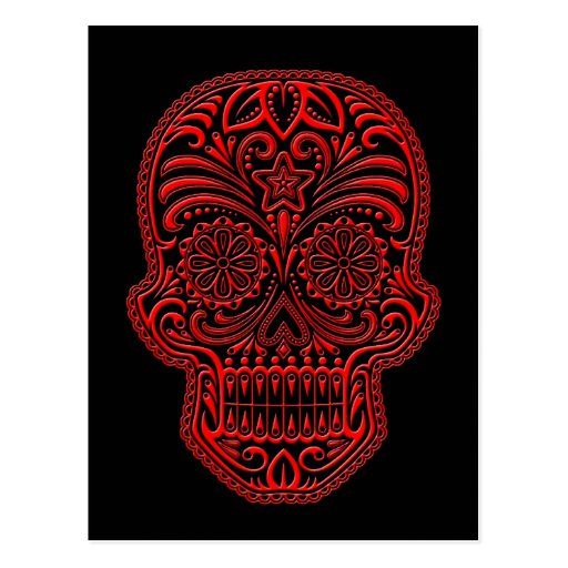 Intricate Red Sugar Skull on Black Post Card