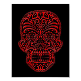 Intricate Red Sugar Skull on Black Posters