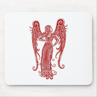 Intricate Red Virgo Zodiac on White Mouse Pad