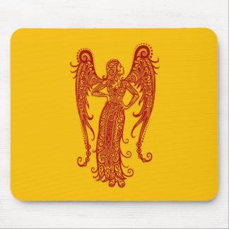 Intricate Red Virgo Zodiac on Yellow Mousepad