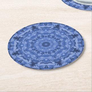 Intricate Royal Blue Kaleidoscope Round Paper Coaster