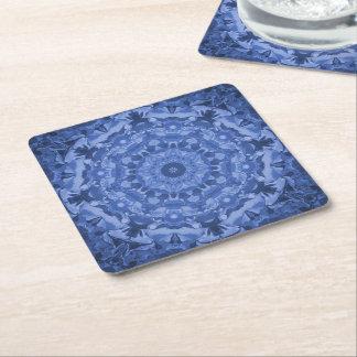 Intricate Royal Blue Kaleidoscope Square Paper Coaster