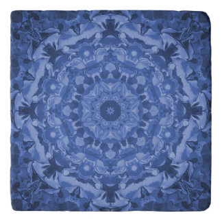 Intricate Royal Blue Kaleidoscope Trivet