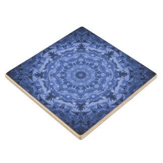 Intricate Royal Blue Kaleidoscope Wood Coaster