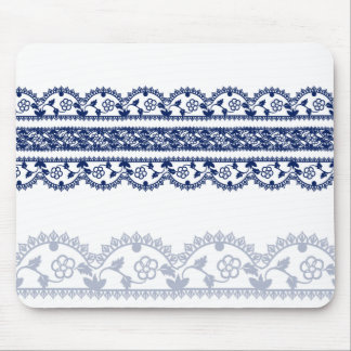 Intricate Royal Blue Lace on White Mouse Mat