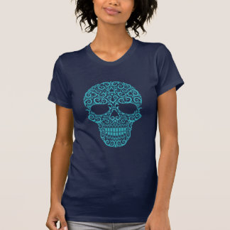 Intricate Sugar Skull - blue T-Shirt