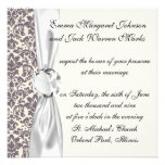 intricate taupe grey cream damask pattern personalised invites