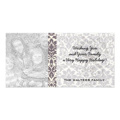 intricate taupe grey cream damask pattern personalized photo card