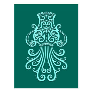 Intricate Teal Blue Aquarius Zodiac Postcard