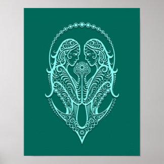 Intricate Teal Blue Gemini Zodiac Poster