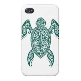Intricate Teal Blue Sea Turtle on White iPhone 4 Case