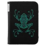 Intricate Teal Blue Tree Frog on Black Kindle Folio Cases