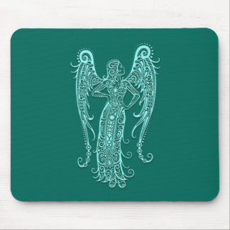 Intricate Teal Blue Virgo Zodiac Mouse Pad