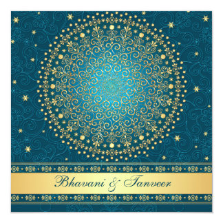 Intricate Teal, Gold Scrolls Stars Wedding Invite