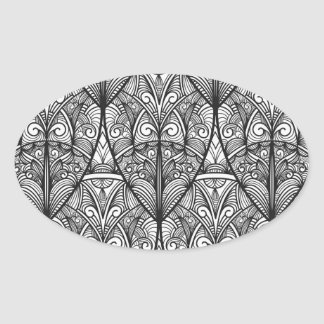Intricate Victorian Pattern Oval Stickers