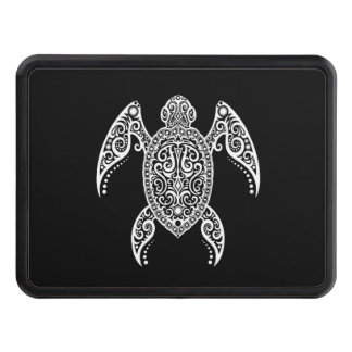 Intricate White and Black Sea Turtle Hitch Covers