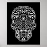 Intricate White Sugar Skull on Black