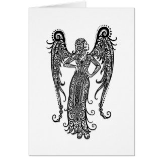 Intricate White Virgo Zodiac on Black Card