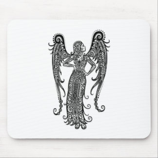 Intricate White Virgo Zodiac on Black Mousepads