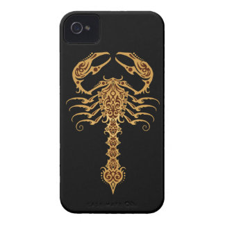Intricate Yellow and Brown Tribal Scorpion iPhone 4 Covers