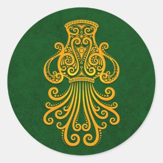 Intricate Yellow Aquarius Zodiac on Green Sticker