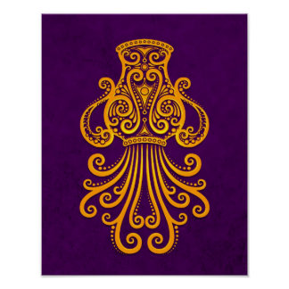 Intricate Yellow Aquarius Zodiac on Purple Poster