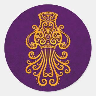 Intricate Yellow Aquarius Zodiac on Purple Round Sticker
