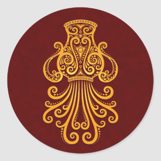 Intricate Yellow Aquarius Zodiac on Red Round Sticker
