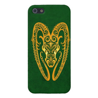 Intricate Yellow Aries Zodiac on Green iPhone 5 Case