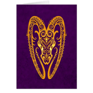 Intricate Yellow Aries Zodiac on Purple Card