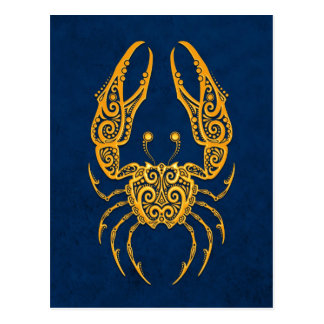 Intricate Yellow Cancer Zodiac on Blue Postcard