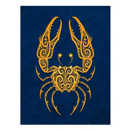 Intricate Yellow Cancer Zodiac on Blue Postcard