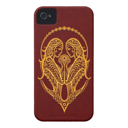 Intricate Yellow Gemini Zodiac on Red iPhone 4 Covers