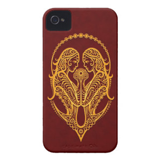 Intricate Yellow Gemini Zodiac on Red Case-Mate iPhone 4 Case