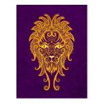 Intricate Yellow Leo Zodiac on Purple Postcard