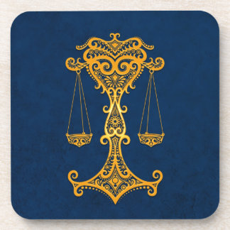 Intricate Yellow Libra Zodiac on Blue Beverage Coasters