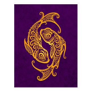 Intricate Yellow Pisces Zodiac on Purple Postcard