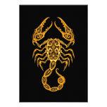 Intricate Yellow Scorpio Zodiac on Black