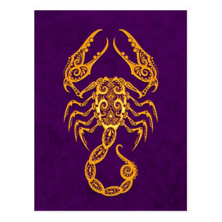 Intricate Yellow Scorpio Zodiac on Purple Postcard