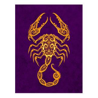 Intricate Yellow Scorpio Zodiac on Purple Postcard