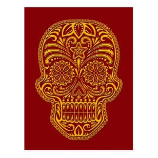 Intricate Yellow Sugar Skull on Red Postcard