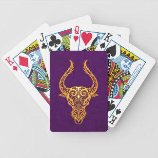 Intricate Yellow Taurus Zodiac on Purple Bicycle Playing Cards