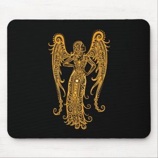 Intricate Yellow Virgo Zodiac on Black Mouse Pad