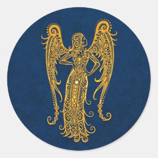 Intricate Yellow Virgo Zodiac on Blue Classic Round Sticker
