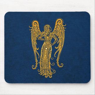 Intricate Yellow Virgo Zodiac on Blue Mousepads