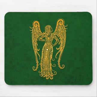 Intricate Yellow Virgo Zodiac on Green Mousepads