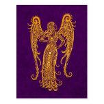 Intricate Yellow Virgo Zodiac on Purple